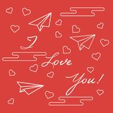 Paper airplane, hearts, clouds. Valentine\'s Day. Paper airplane, hearts, clouds and inscription i love you.Template for design, fabric, print. Greeting card Royalty Free Stock Image