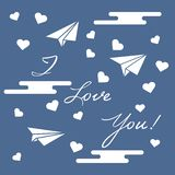 Paper airplane, hearts, clouds. Valentine's Day. Paper airplane, hearts, clouds and inscription i love you.Template for design, fabric, print. Greeting card royalty free illustration