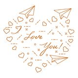 Paper airplane, hearts. Valentine\'s Day. Paper airplane, hearts and inscription i love you. Template for design, fabric, print. Valentine\'s Day Stock Photo