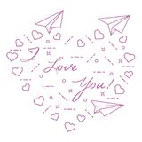 Paper airplane, hearts. Valentine\'s Day. Paper airplane, hearts and inscription i love you. Template for design, fabric, print. Valentine\'s Day Royalty Free Stock Image