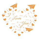 Paper airplane, hearts. Valentine\'s Day. Paper airplane, hearts and inscription i love you. Template for design, fabric, print. Valentine\'s Day Royalty Free Stock Photography