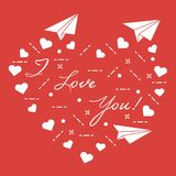 Paper airplane, hearts. Valentine\'s Day. Paper airplane, hearts and inscription i love you. Template for design, fabric, print. Valentine\'s Day Royalty Free Stock Photo