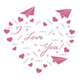 Paper airplane, hearts. Valentine\'s Day. Paper airplane, hearts and inscription i love you. Template for design, fabric, print. Valentine\'s Day Stock Photos