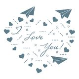 Paper airplane, hearts. Valentine\'s Day. Paper airplane, hearts and inscription i love you. Template for design, fabric, print. Valentine\'s Day Royalty Free Stock Images