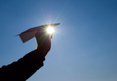 Paper airplane in his hand Royalty Free Stock Photo