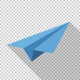 Paper airplane icon in flat style on transparent background. Paper airplane icon in flat style with long shadow on transparent background vector illustration