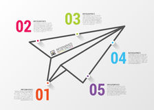 Paper airplane. Infographics concept. Vector design template.  vector illustration
