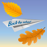 Paper airplane with the inscription Back to School. Falling autumn leaves. The celebration on 1 September. Vector Image. Paper airplane with the inscription Stock Image