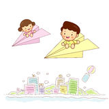 Paper airplane kids travel Stock Photo