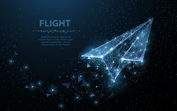 Paper airplane. Low poly wireframe mesh looks like constellation on dark blue. Illustration or background stock illustration