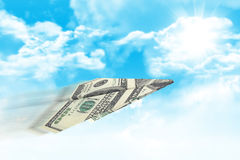 Paper airplane made of hundred dollar bill Royalty Free Stock Photography