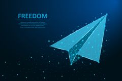 Paper airplane made by points and lines, polygonal wireframe mesh on night sky, dark blue background. Paper plane with trail. Paper airplane made by points and vector illustration