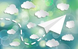 Paper airplane with paper clouds  in the blue sky with twinkle l. Ights on blue background Royalty Free Stock Photos
