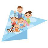 Paper airplane and parent and child Royalty Free Stock Image