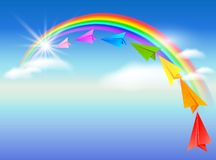 Paper airplane and rainbow Royalty Free Stock Image