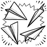 Paper airplane sketch Stock Photos