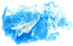 Paper airplane in sky. Abstract image.Watercolor hand drawn illustration royalty free illustration