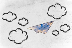 Paper airplane with sky fill and clouds. Paper airplane illustration with sky fill, symbol of freedom and imagination Stock Photos