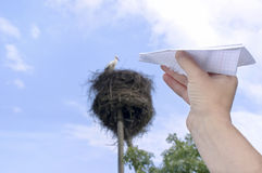 Paper Airplane And Stork royalty free stock photo