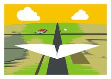 Paper airplane take off. Simple illustration of a paper airplane taking off Stock Image