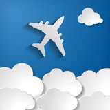 Paper Airplane With Paper Clouds Royalty Free Stock Photography
