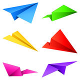 Paper airplanes. Set of 6 color paper airplanes Stock Photography