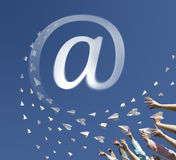 Paper airplanes as symbol email Royalty Free Stock Image
