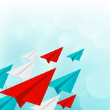 Paper airplanes on blue sky Royalty Free Stock Photo