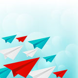 Paper airplanes on blue sky background Royalty Free Stock Photo