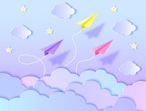 Airplanes,blue sky and clouds. Paper airplanes,blue sky and clouds. Vector illustration. Paper art style stock illustration