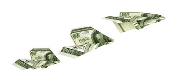 Paper airplanes from the dollars. On a white background. 3d illustration Stock Photography