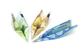 Paper airplanes from the euro. On a white background. 3d illustration Stock Photography