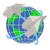 Paper airplanes fly around the planet Earth Royalty Free Stock Photos