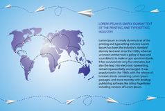 Paper airplanes fly over the world map. Blank text field included. Vector illustration royalty free illustration
