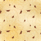 Paper airplanes fly on routes, map on old paper, seamless pattern Royalty Free Stock Image