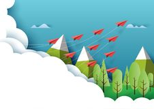 Paper airplanes flying on nature landscape and blue sky paper ar. Paper airplanes flying from clouds above forest,mountain and blue sky.Paper art style of vector illustration