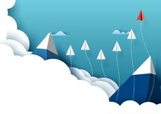 Paper airplanes flying from clouds and blue sky background. Paper airplanes flying from clouds above mountains and blue sky.Paper art style of business teamwork stock illustration