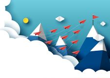 Paper airplanes flying to red flag on the peak of blue mountain. Paper airplanes flying from clouds to red flag on the peak of mountain and blue sky.Paper art stock illustration