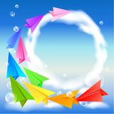 Paper airplanes flying in the sky Stock Photography