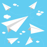 Paper airplanes flying in the sky Stock Photos