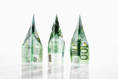 Paper airplanes folded from 100 Euro banknotes Royalty Free Stock Images