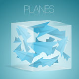 Paper airplanes in glass box Royalty Free Stock Photography