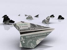 Paper airplanes made of dollar bills. Paper airplanes made of dollars Stock Photos