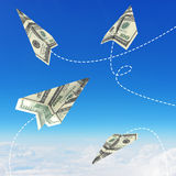 Paper airplanes made of hundred dollar bills Royalty Free Stock Image