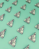 Paper airplanes made out of money on the green background Stock Photography