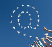 Paper airplanes in the manner of symbol of email royalty free stock photography