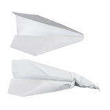 Paper airplanes over white, battered and normal one Stock Photography