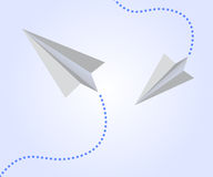 Paper airplanes in the sky. Background illustration with paper airplanes and traces Royalty Free Stock Photo