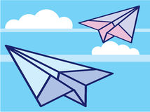 Paper Airplanes in the sky Vector. Eps file stock illustration