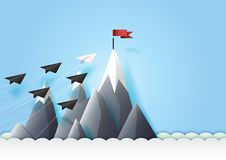 Paper airplanes teamwork reach the red target. Business teamwork and leadership concept with paper airplanes reach the red flag target.Paper art vector vector illustration
